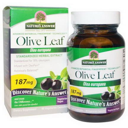 Nature's Answer, Olive Leaf, Standardized Herbal Extract, 187mg, 60 Veggie Caps