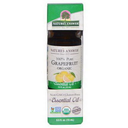 Nature's Answer, Organic Essential Oil, 100% Pure Grapefruit 15ml