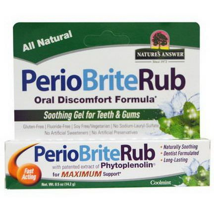 Nature's Answer, PerioBriteRub, Soothing Gel for Teeth&Gums, Cool Mint 14.2g