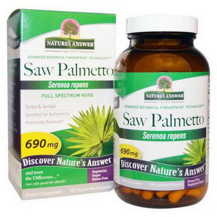 Nature's Answer, Saw Palmetto, Full Spectrum Herb, 690mg, 120 Veggie Caps