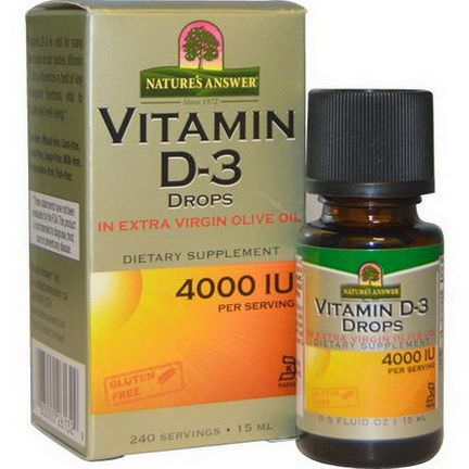 Nature's Answer, Vitamin D-3 Drops, 4000 IU 15ml