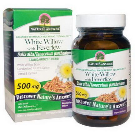 Nature's Answer, White Willow with Feverfew, 500mg, 60 Veggie Caps