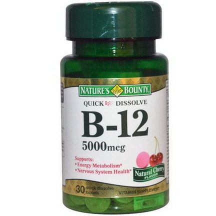 Nature's Bounty, B-12, Natural Cherry Flavor, 5000mcg, 30 Quick Dissolve Tablets