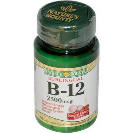 Nature's Bounty, B-12, Sublingual, Natural Cherry Flavor, 2500mcg, 50 Microlozenges
