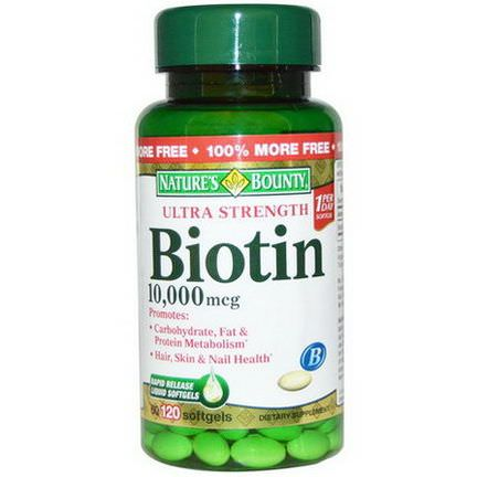 Nature's Bounty, Biotin, Ultra Strength, 10,000mcg, 120 Softgels