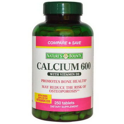Nature's Bounty, Calcium 600 with Vitamin D3, 250 Tablets