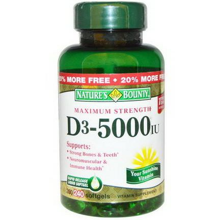 Nature's Bounty, D3, Maximum Strength, 5000 IU, 240 Softgels