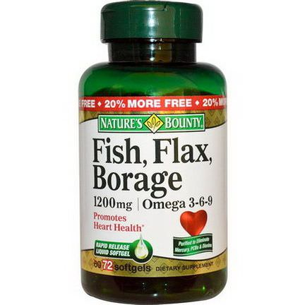 Nature's Bounty, Fish, Flax, Borage, Omega 3-6-9, 1200mg, 72 Softgels