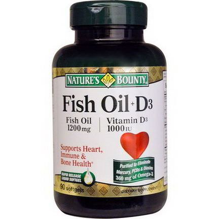 Nature's Bounty, Fish Oil D3, 90 Softgels
