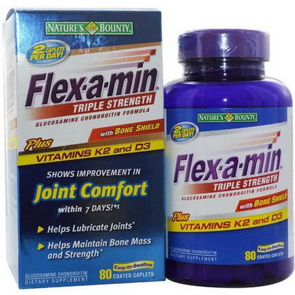 Nature's Bounty, Flex-a-Min, Triple Strength, with Bone Shield, 80 Coated Caplets
