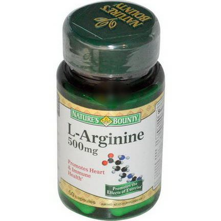 Nature's Bounty, L-Arginine, 500mg, 50 Capsules