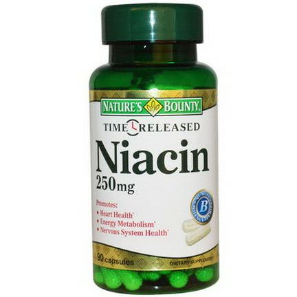 Nature's Bounty, Niacin, Time Released, 250mg, 90 Capsules