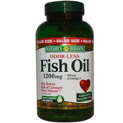 Nature's Bounty, Odor-Less Fish Oil, 1200mg, 200 Coated Softgels
