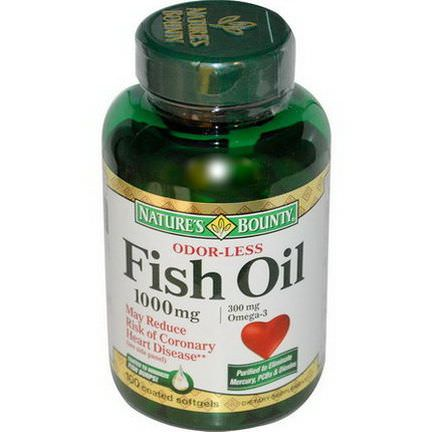 Nature's Bounty, Odorless Fish Oil Omega-3, 1000mg, 100 Softgels