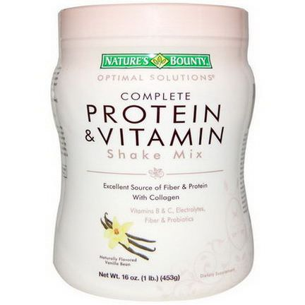 Nature's Bounty, Optimal Solutions, Complete Protein&Vitamin Shake Mix, Naturally Flavored Vanilla Bean 453g