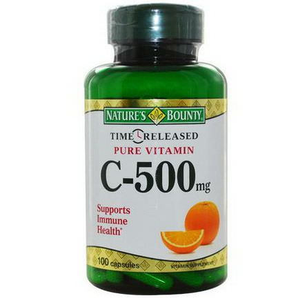 Nature's Bounty, Time Released Pure Vitamin C, 500mg, 100 Capsules