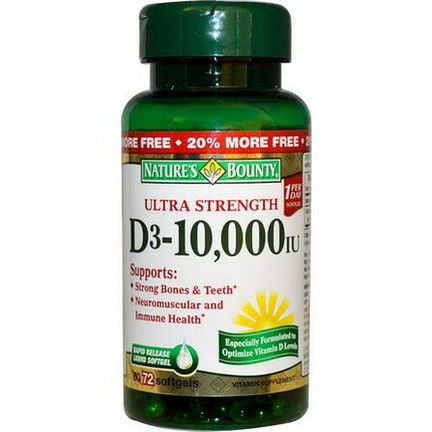 Nature's Bounty, Ultra Strength D3-10,000 IU, 72 Softgels