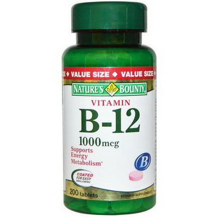 Nature's Bounty, Vitamin B-12, 1000mcg, 200 Tablets