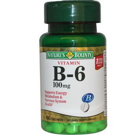 Nature's Bounty, Vitamin B-6, 100mg, 100 Tablets