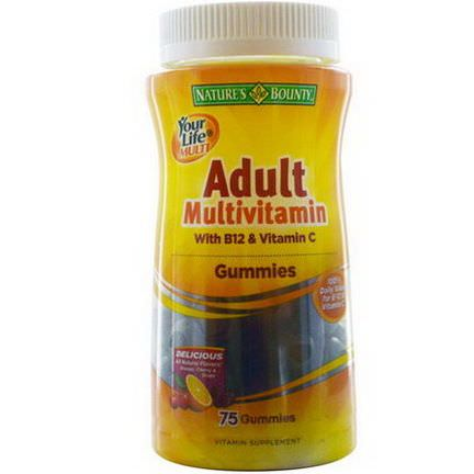 Nature's Bounty, Your Life Multi, Adult Multivitamin Gummies with B12&Vitamin C, 75 Gummies