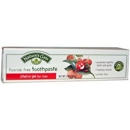 Nature's Gate, Fluoride Free Toothpaste, Cherry Gel for Kids 141g
