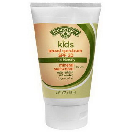 Nature's Gate, Kids Mineral Sunscreen Lotion, SPF 20, Fragrance-Free 118ml