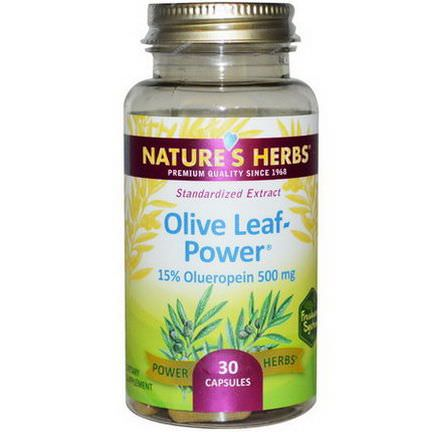 Nature's Herbs, Olive Leaf-Power, 500mg, 30 Capsules