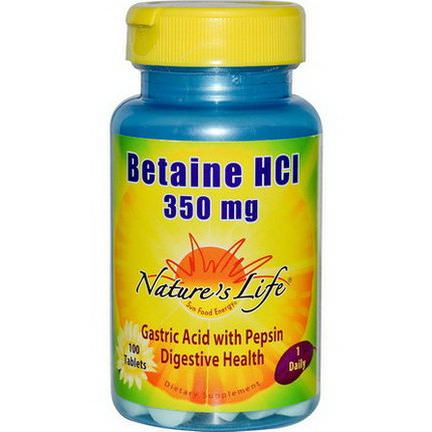 Nature's Life, Betaine HCL, 350mg, 100 Tablets