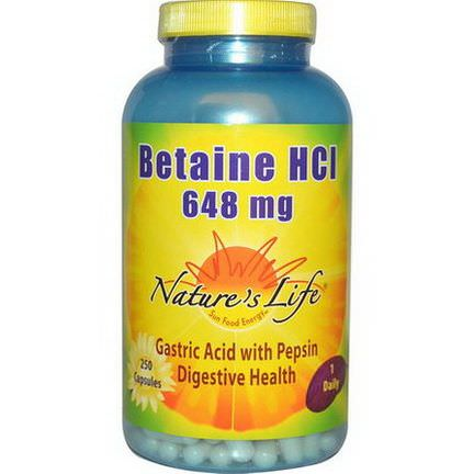 Nature's Life, Betaine HCl, 648mg, 250 Capsules