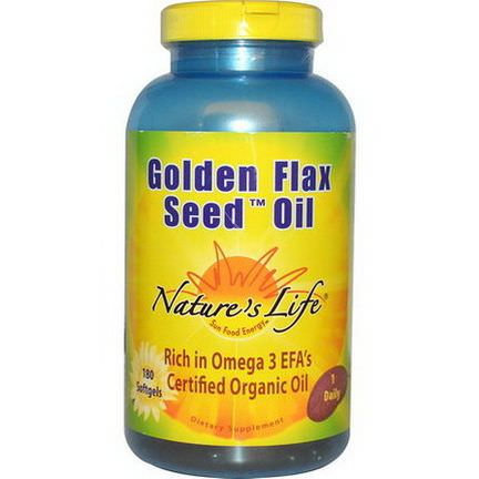 Nature's Life, Golden Flax Seed Oil, 180 Softgels