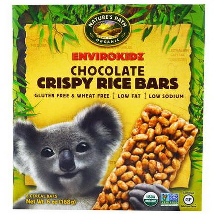 Nature's Path, EnviroKidz, Crispy Rice Bars, Chocolate, 6 Cereal Bars 28g Each