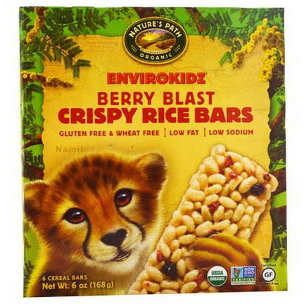 Nature's Path, EnviroKidz, Organic Crispy Rice Cereal Bars, Berry Blast, 6 Bars 28g Each