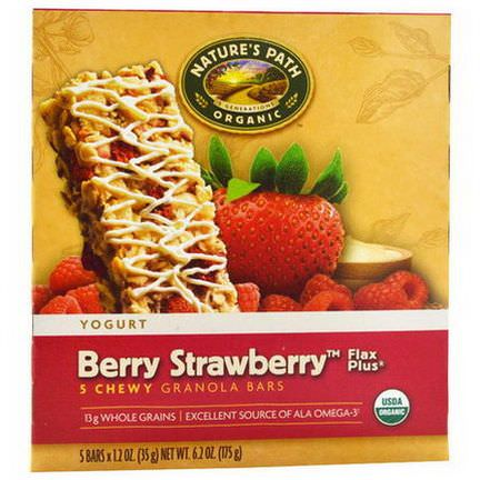Nature's Path, Organic, Chewy Granola Bars, Flax Plus, Berry Strawberry, 5 Bars 35g Each