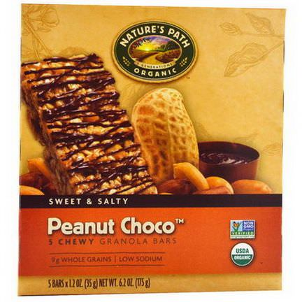 Nature's Path, Organic, Chewy Granola Bars, Peanut Choco, 5 Bars 35g Each