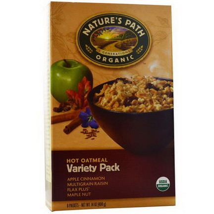 Nature's Path, Organic, Hot Oatmeal, Variety Pack, 8 Packets, 50g Each