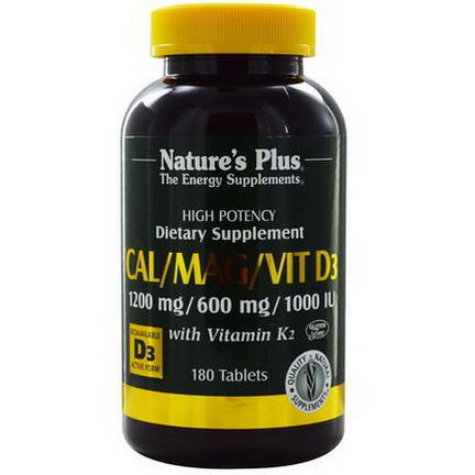 Nature's Plus, Cal/Mag/Vit D3, with Vitamin K2, 180 Tablets