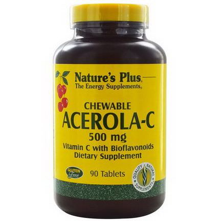Nature's Plus, Chewable Acerola-C, Vitamin C with Bioflavonoids, 500mg, 90 Tablets