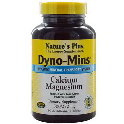 Nature's Plus, Dyno-Mins, Calcium Magnesium, 500/250mg, 90 Acid-Resistant Tablets