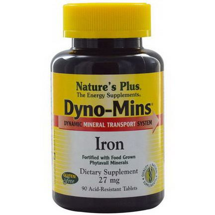 Nature's Plus, Dyno-Mins, Iron, 27mg, 90 Acid-Resistant Tablets
