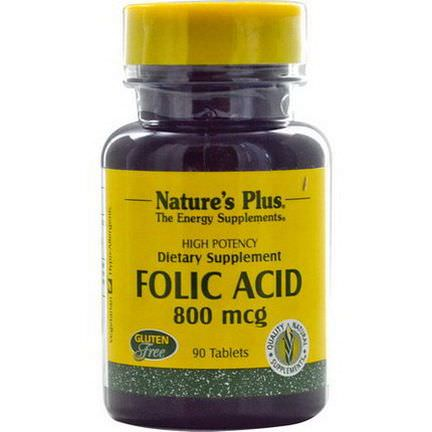 Nature's Plus, Folic Acid, 800mcg, 90 Tablets