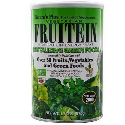 Nature's Plus, Fruitein High Protein Energy Shake, Revitalizing Green Foods 576g