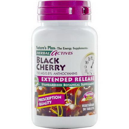 Nature's Plus, Herbal Actives, Black Cherry, 750mg, 30 Tablets