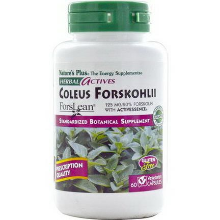 Nature's Plus, Herbal Actives, Coleus Forskohlii, 125mg, 60 Veggie Caps