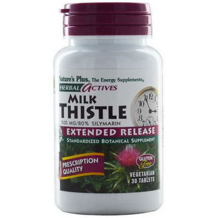 Nature's Plus, Herbal Actives, Milk Thistle, Extended Release, 500mg, 30 Tablets