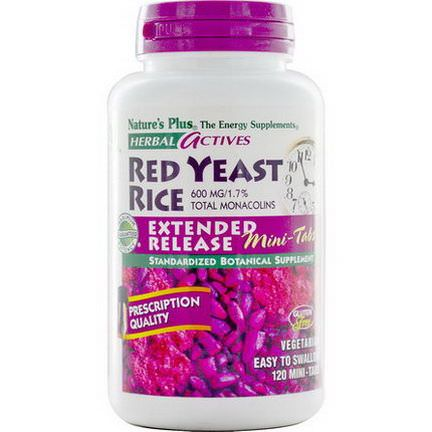 Nature's Plus, Herbal Actives, Red Yeast Rice, 600mg, 120 Mini-Tabs