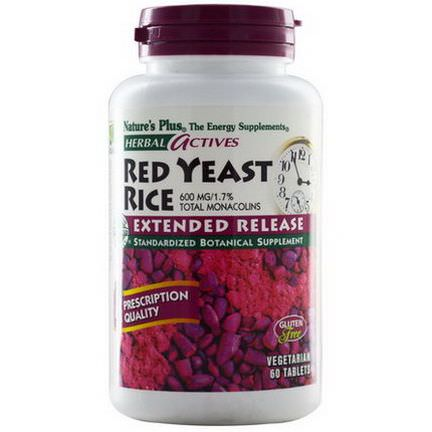 Nature's Plus, Herbal Actives, Red Yeast Rice, 600mg, 60 Tablets