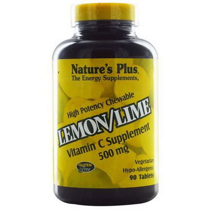 Nature's Plus, High Potency Chewable, Vitamin C Supplement, Lemon/Lime, 500mg, 90 Tablets