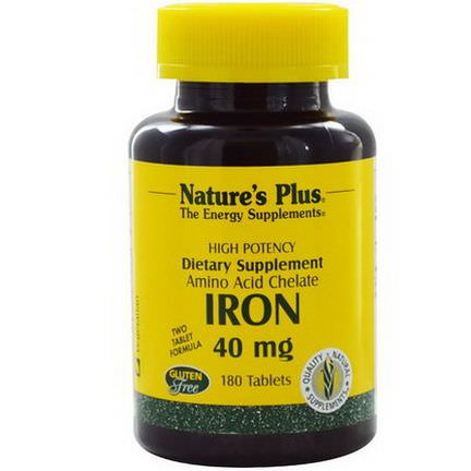 Nature's Plus, Iron, 40mg, 180 Tablets