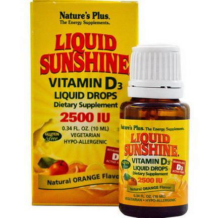 Nature's Plus, Liquid Sunshine, Vitamin D3 Liquid Drops, Natural Orange Flavor, 2500 IU 10ml