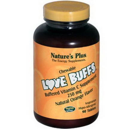 Nature's Plus, Love Buffs, Chewable Buffered Vitamin C, Natural Orange Flavor, 250mg, 90 Tablets